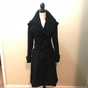 Burberry cashmere wool shearling trench coat